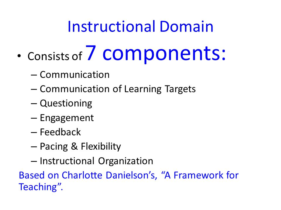 Instructional Domain Consists of 7 components: Communication
