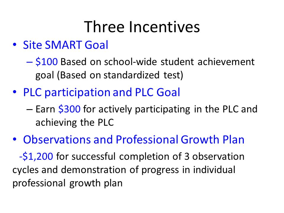 Three Incentives Site SMART Goal PLC participation and PLC Goal