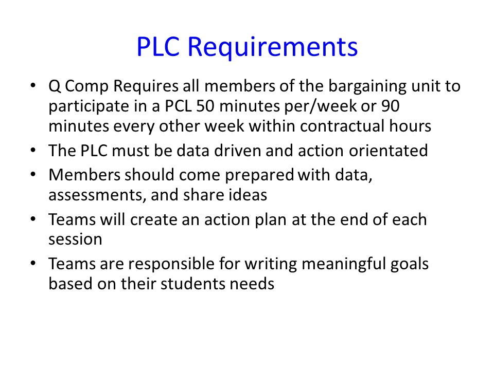 PLC Requirements