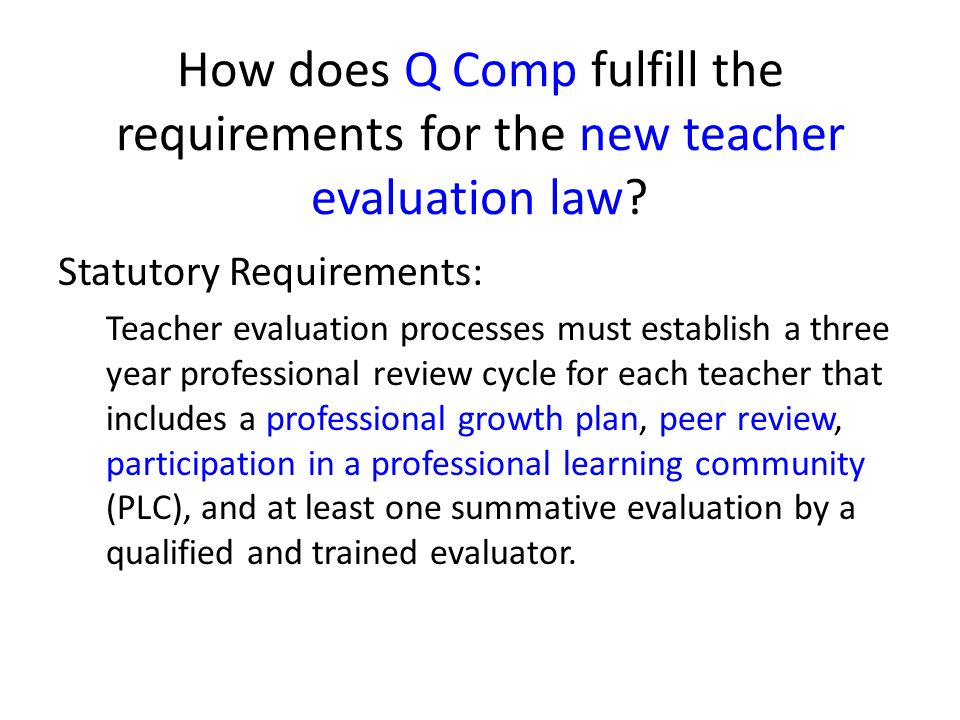How does Q Comp fulfill the requirements for the new teacher evaluation law
