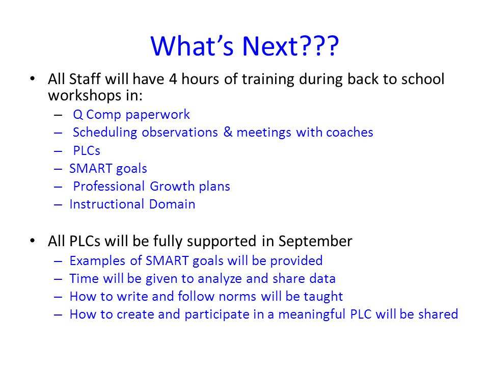 What's Next All Staff will have 4 hours of training during back to school workshops in: Q Comp paperwork.