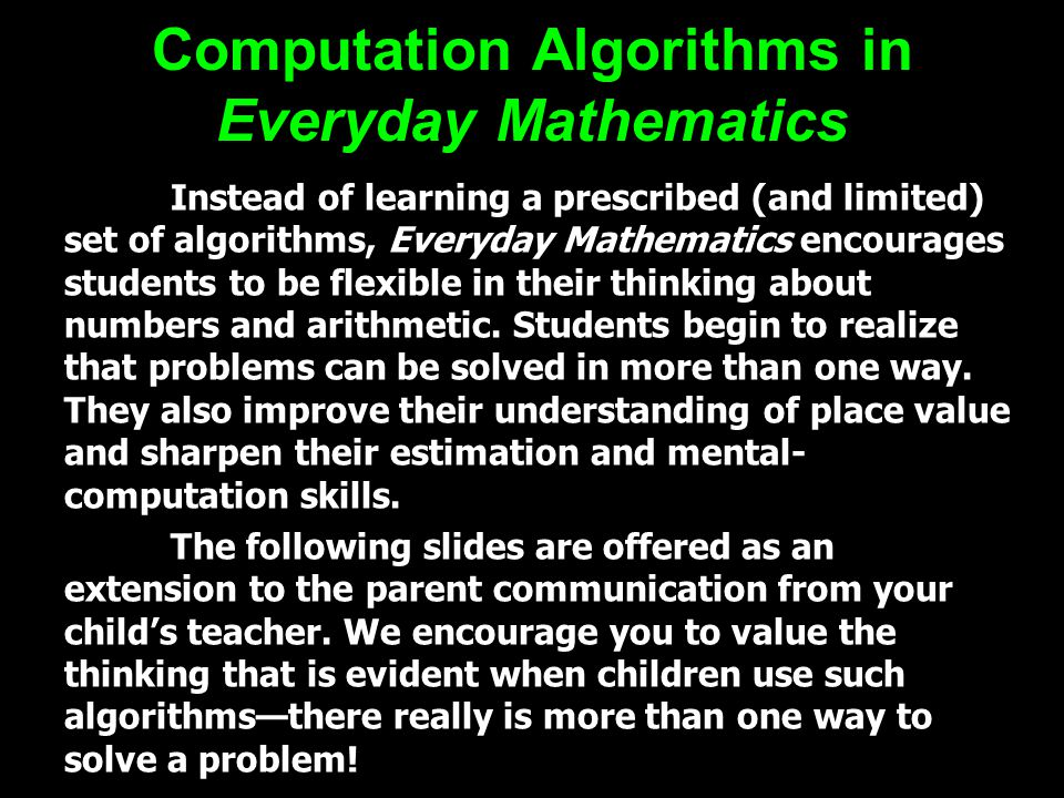 Computation Algorithms in Everyday Mathematics