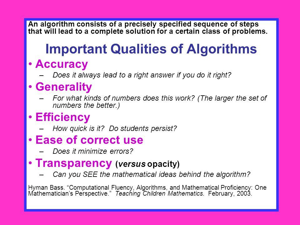 Important Qualities of Algorithms