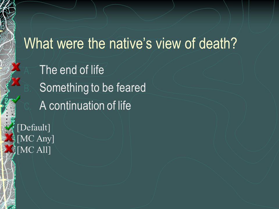 What were the native's view of death