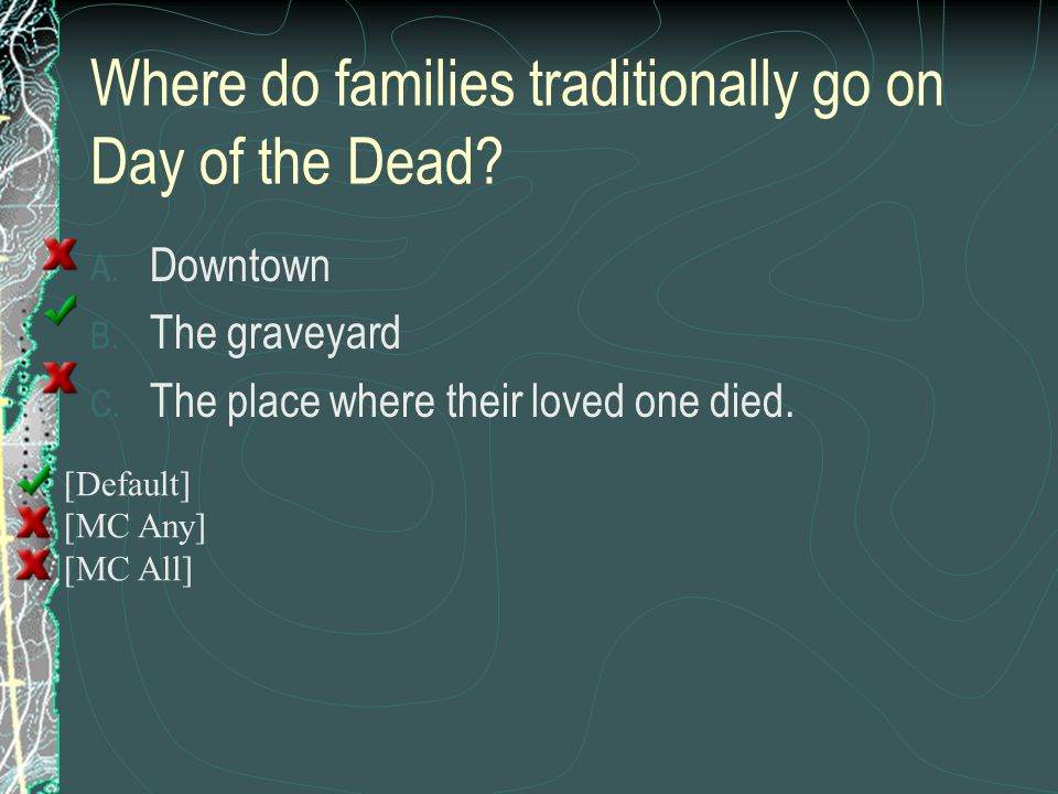 Where do families traditionally go on Day of the Dead