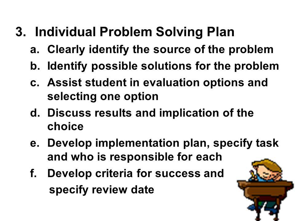 Individual Problem Solving Plan