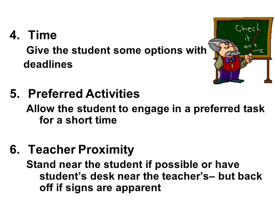 Time Preferred Activities Teacher Proximity