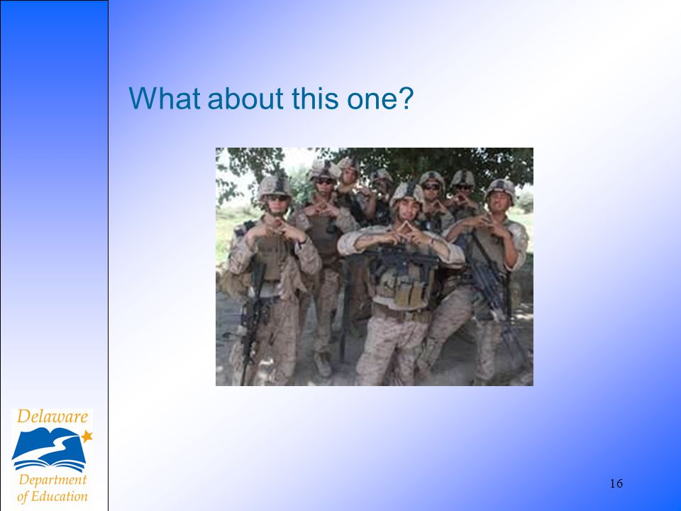 What about this one Are these soldiers gang members or just imitating throwing signs
