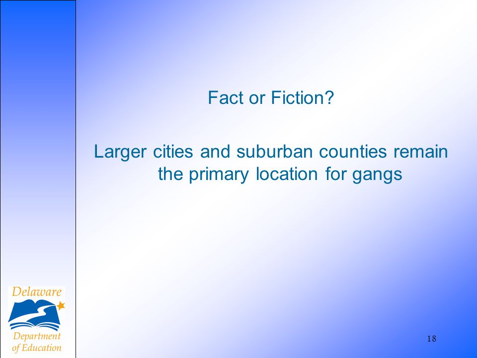 Fact or Fiction Larger cities and suburban counties remain the primary location for gangs