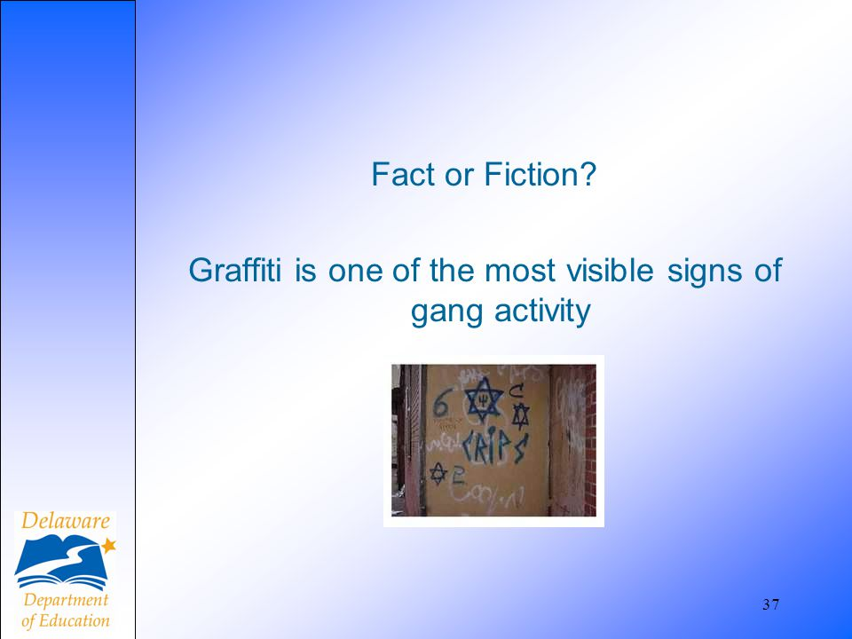 Fact or Fiction Graffiti is one of the most visible signs of gang activity