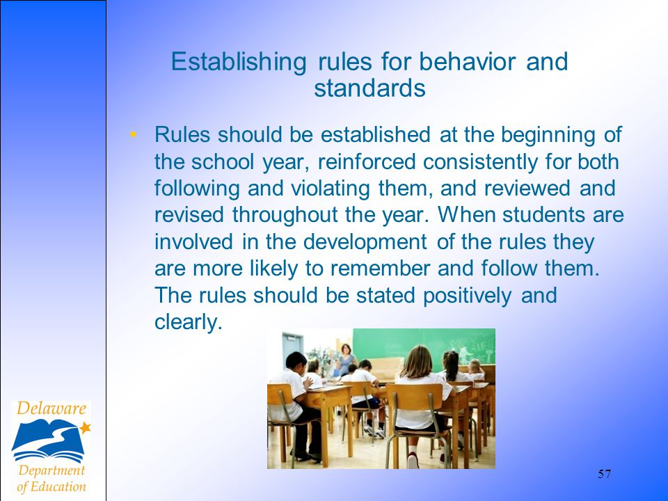 Establishing rules for behavior and standards
