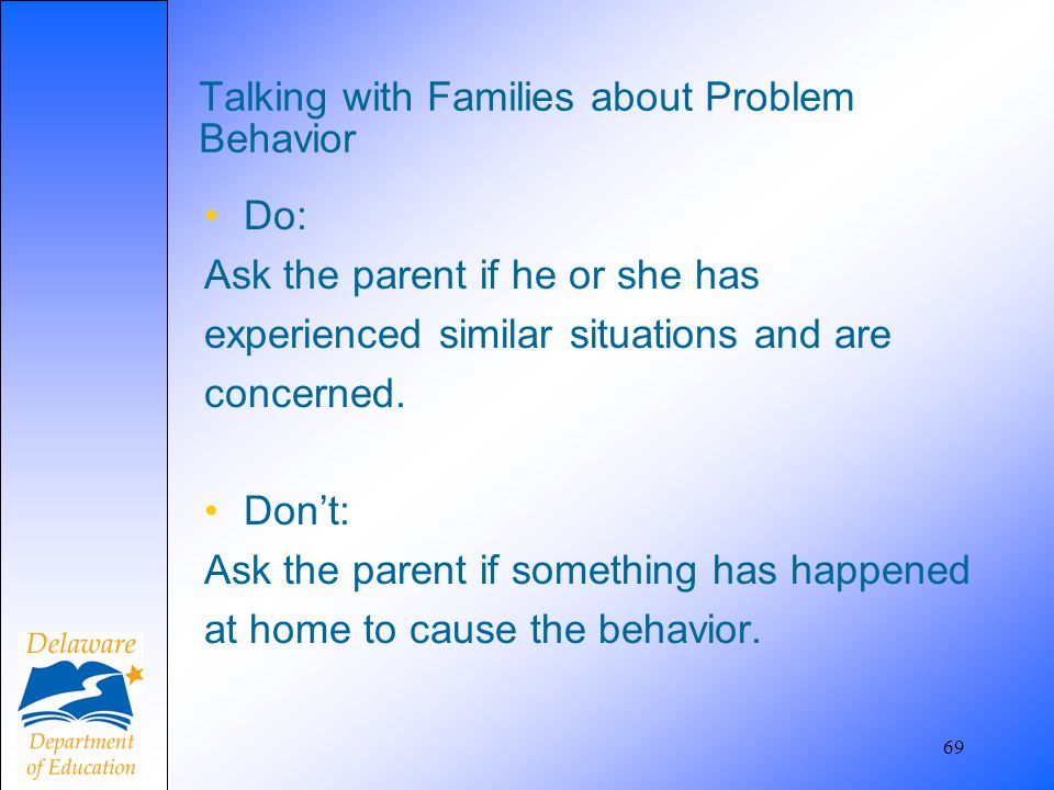Talking with Families about Problem Behavior