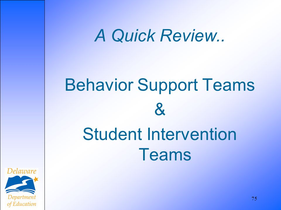A Quick Review.. Behavior Support Teams & Student Intervention Teams