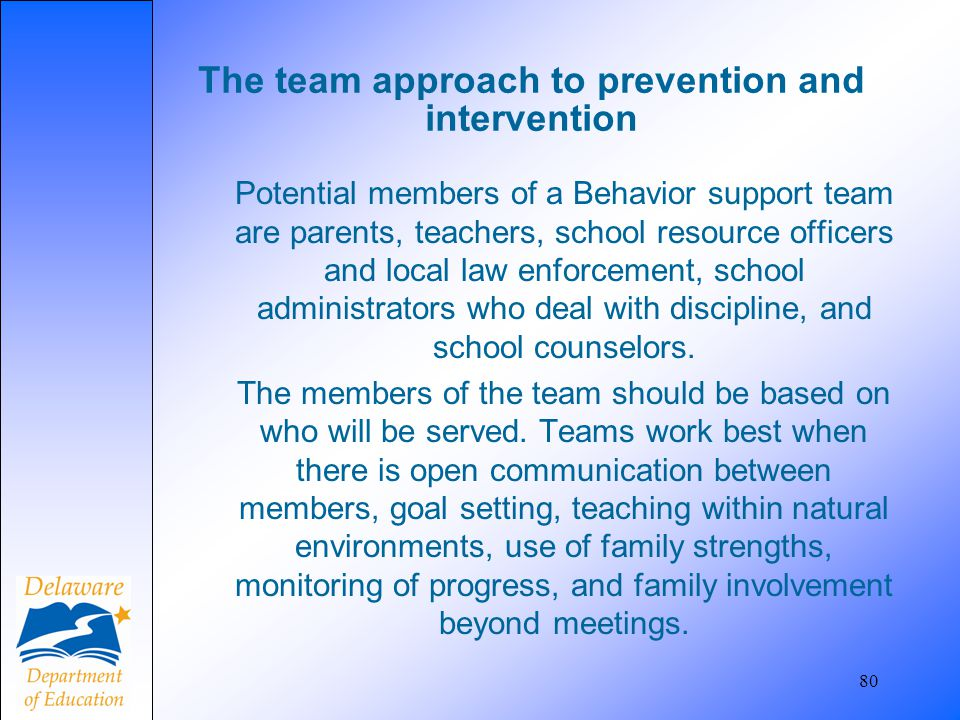 The team approach to prevention and intervention