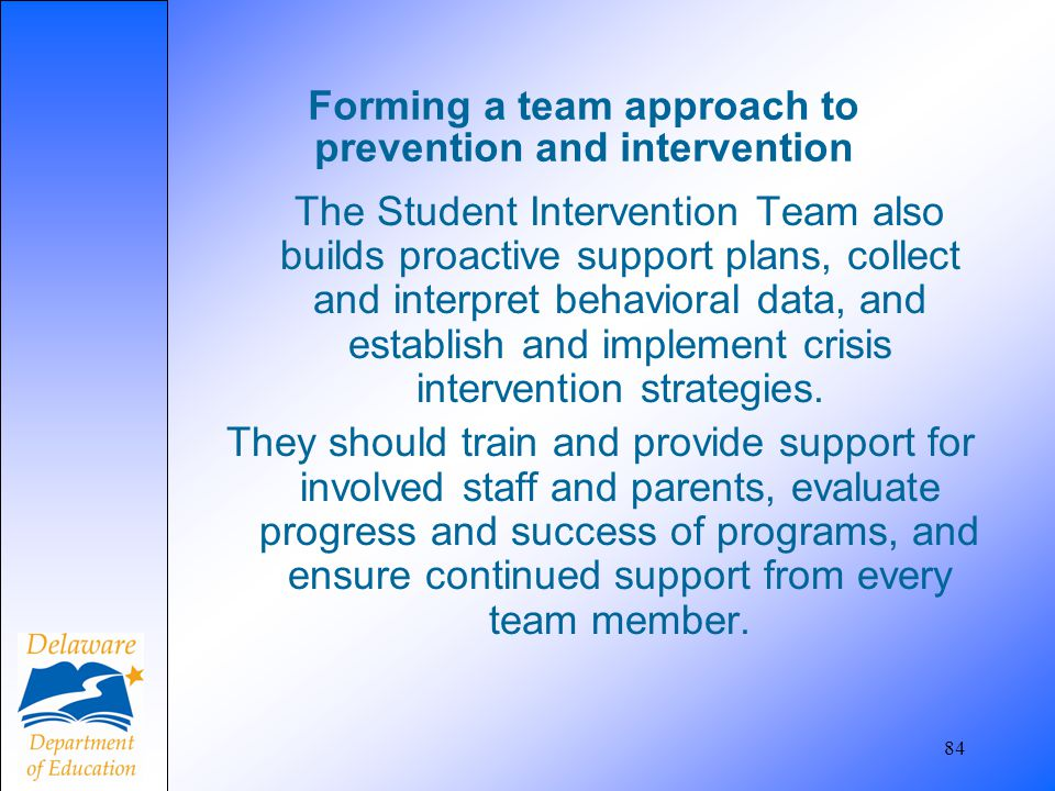 Forming a team approach to prevention and intervention