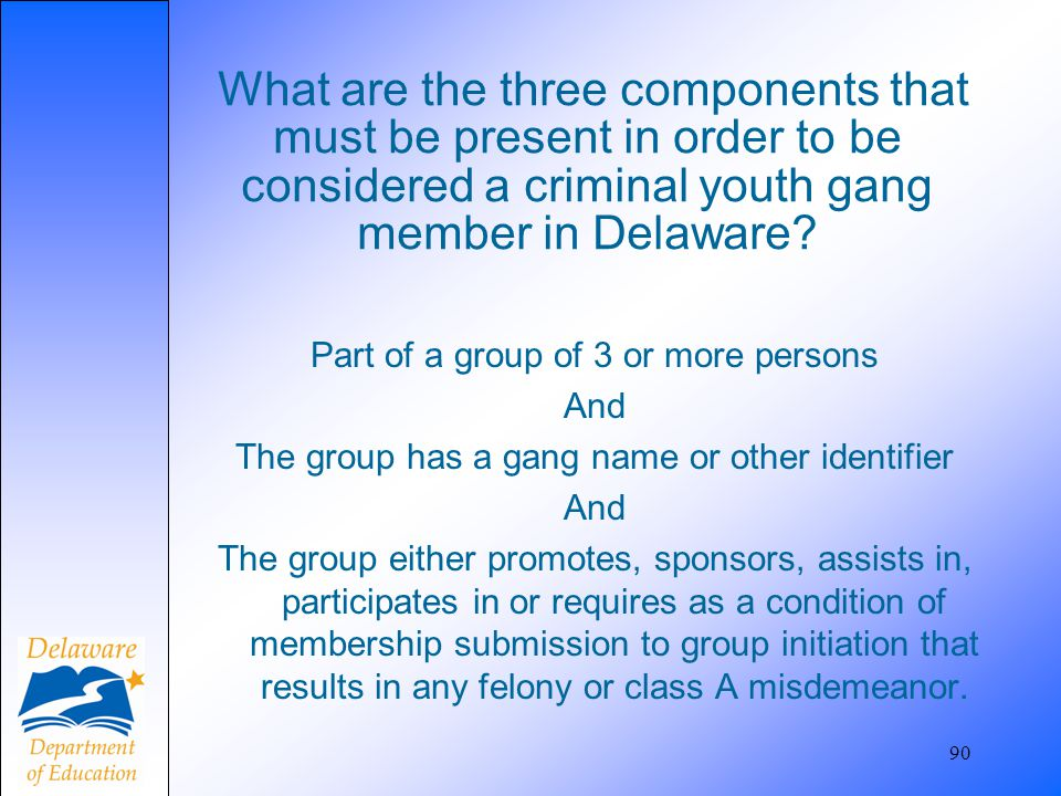 What are the three components that must be present in order to be considered a criminal youth gang member in Delaware