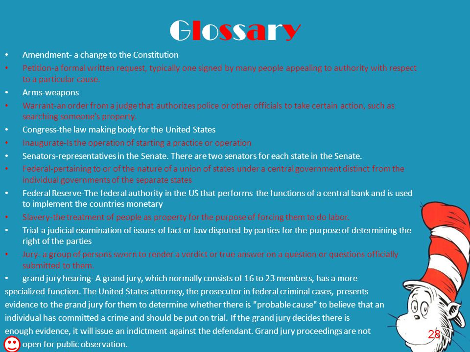 Glossary 28 Amendment- a change to the Constitution