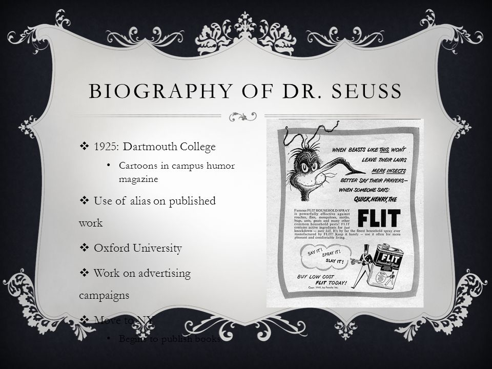 Biography of dr. Seuss 1925: Dartmouth College