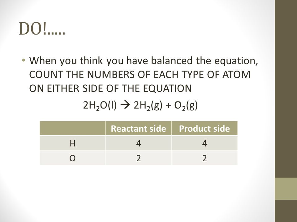 DO!..... When you think you have balanced the equation, COUNT THE NUMBERS OF EACH TYPE OF ATOM ON EITHER SIDE OF THE EQUATION.
