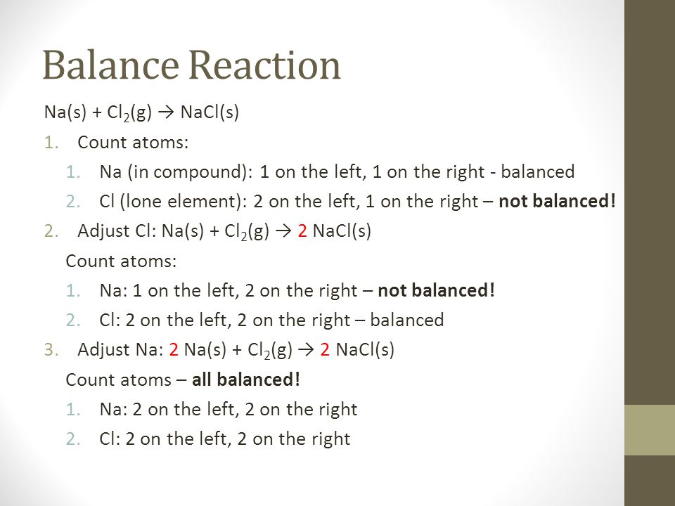 Balance Reaction Na(s) + Cl2(g) → NaCl(s) Count atoms:
