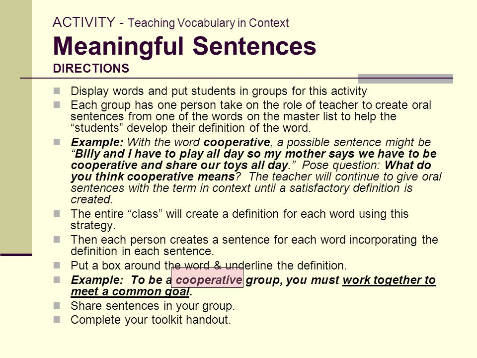 ACTIVITY - Teaching Vocabulary in Context Meaningful Sentences DIRECTIONS