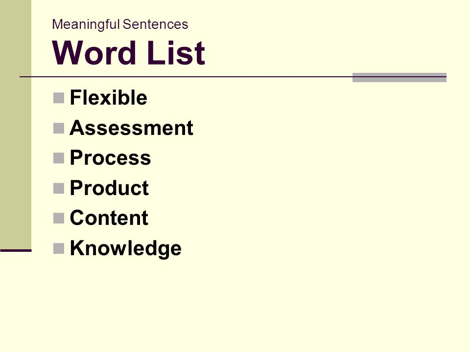 Meaningful Sentences Word List