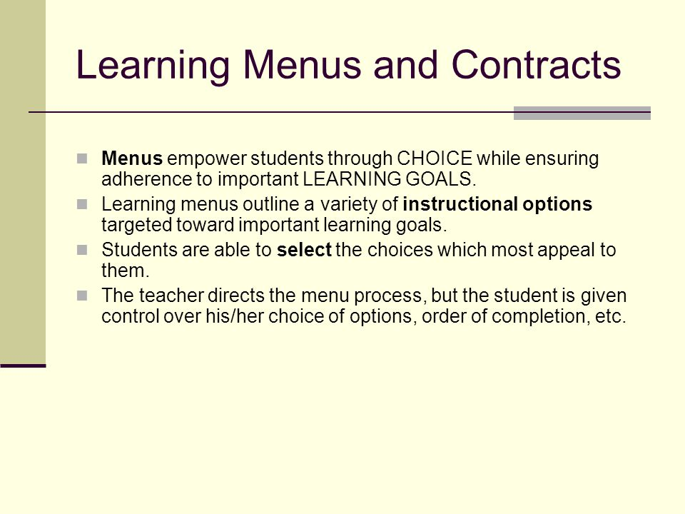 Learning Menus and Contracts