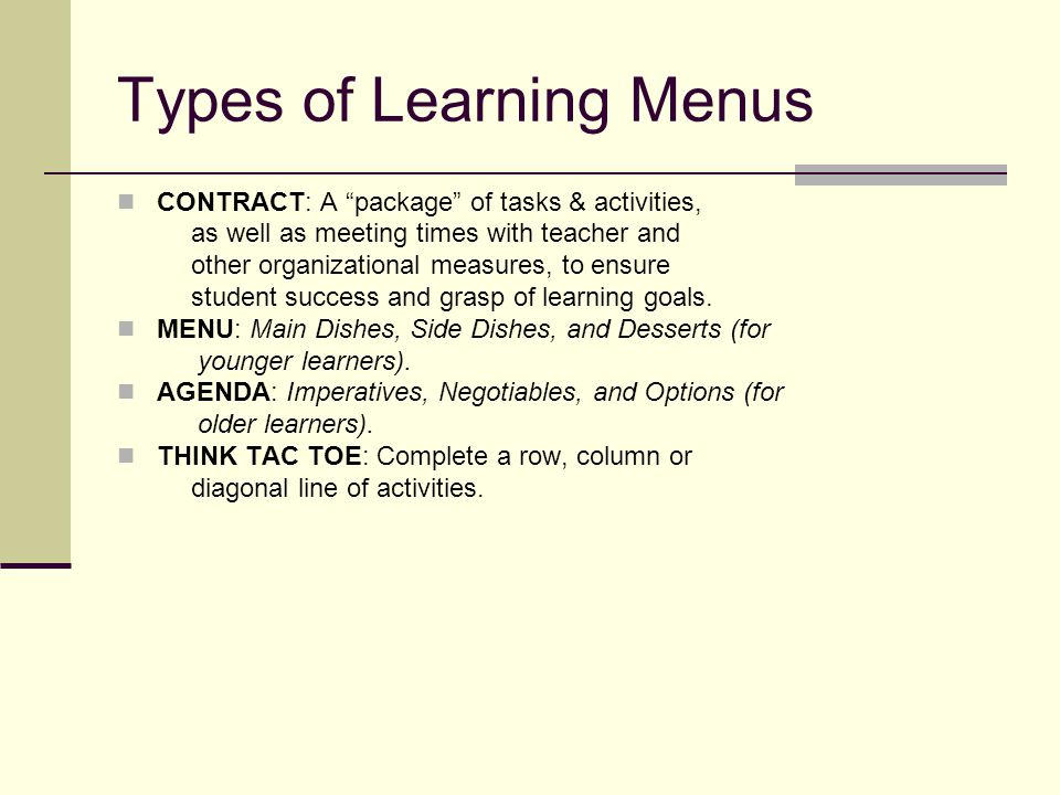 Types of Learning Menus