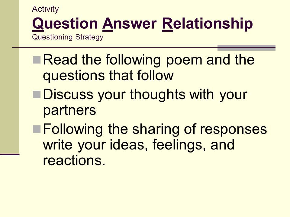 Activity Question Answer Relationship Questioning Strategy