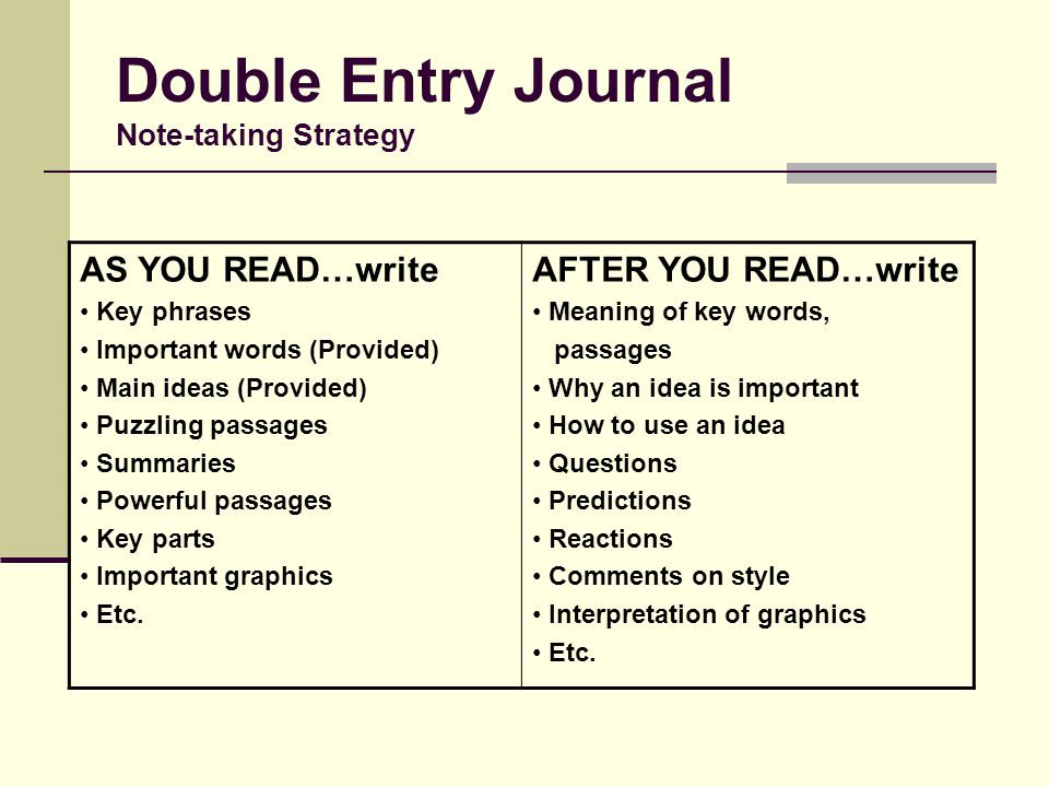 Double Entry Journal Note-taking Strategy