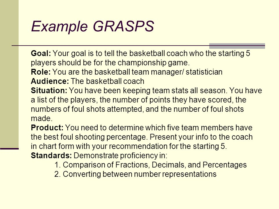 Example GRASPS Goal: Your goal is to tell the basketball coach who the starting 5. players should be for the championship game.