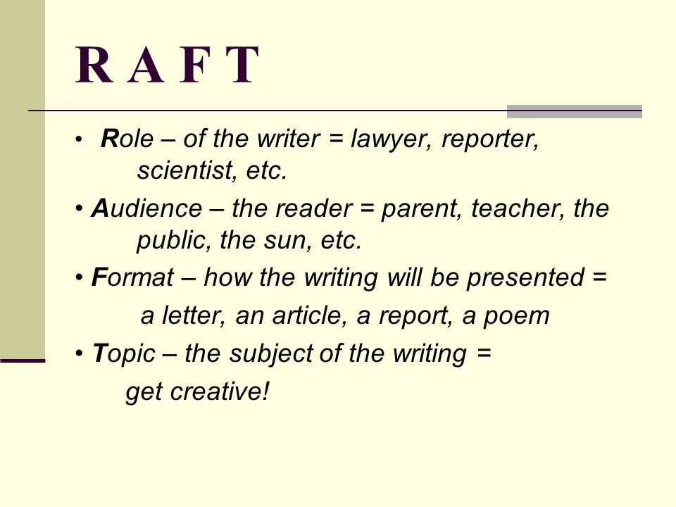 R A F T Role – of the writer = lawyer, reporter, scientist, etc.