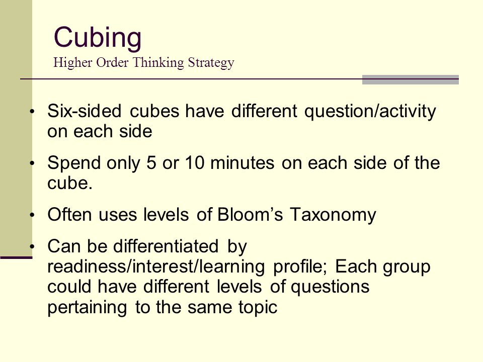 Cubing Higher Order Thinking Strategy