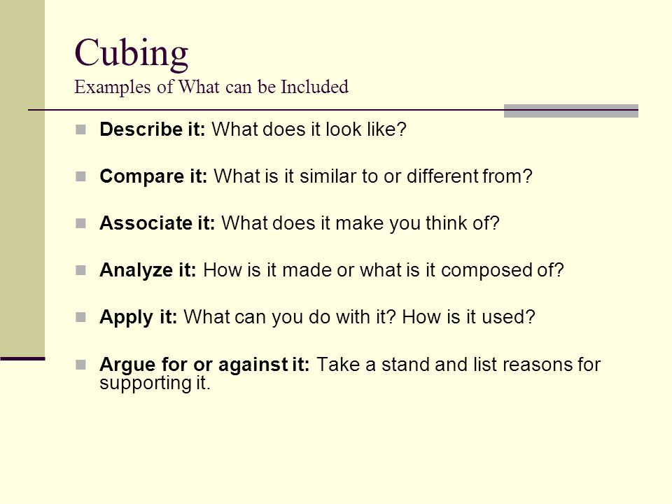 Cubing Examples of What can be Included