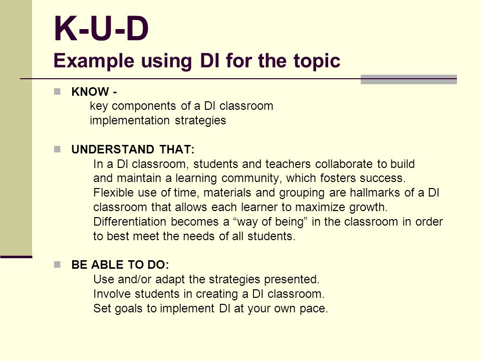 K-U-D Example using DI for the topic