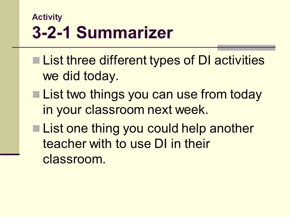 Activity 3-2-1 Summarizer