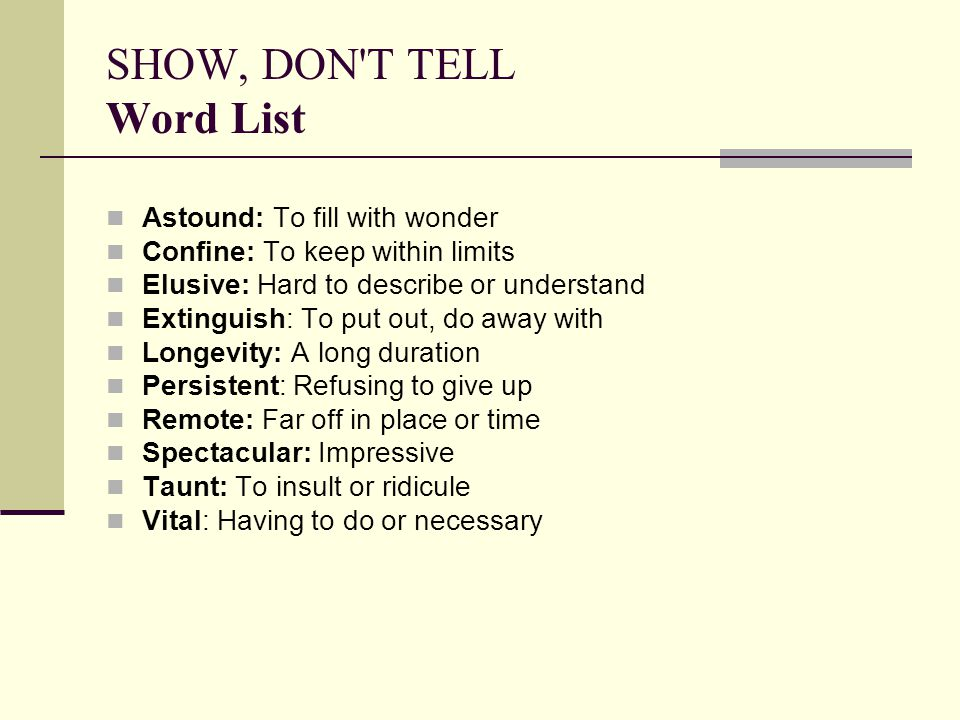 SHOW, DON T TELL Word List