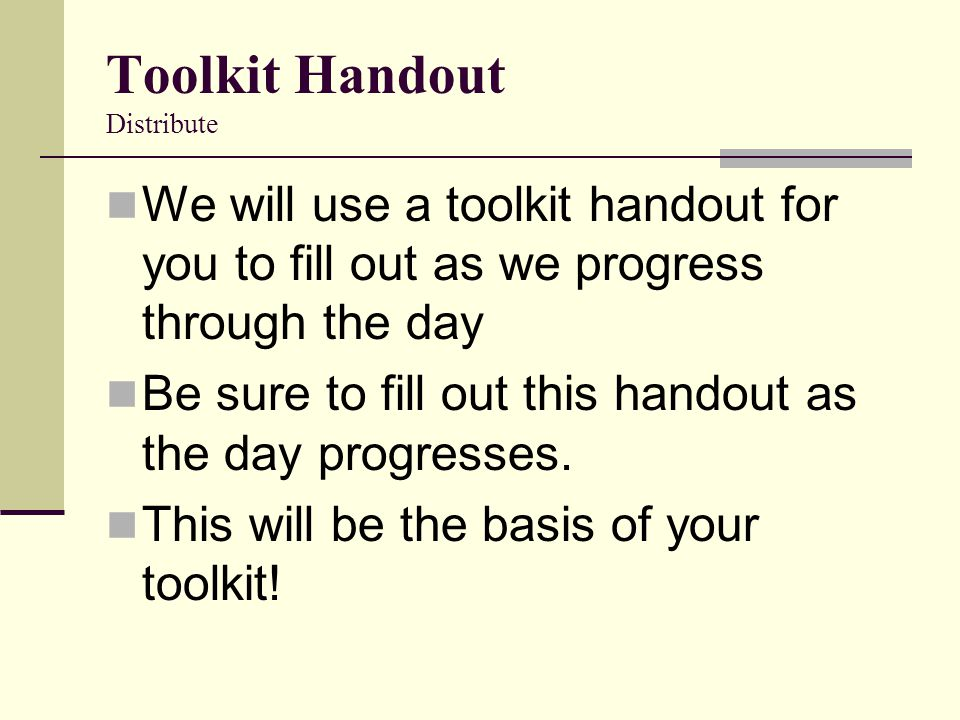 Toolkit Handout Distribute