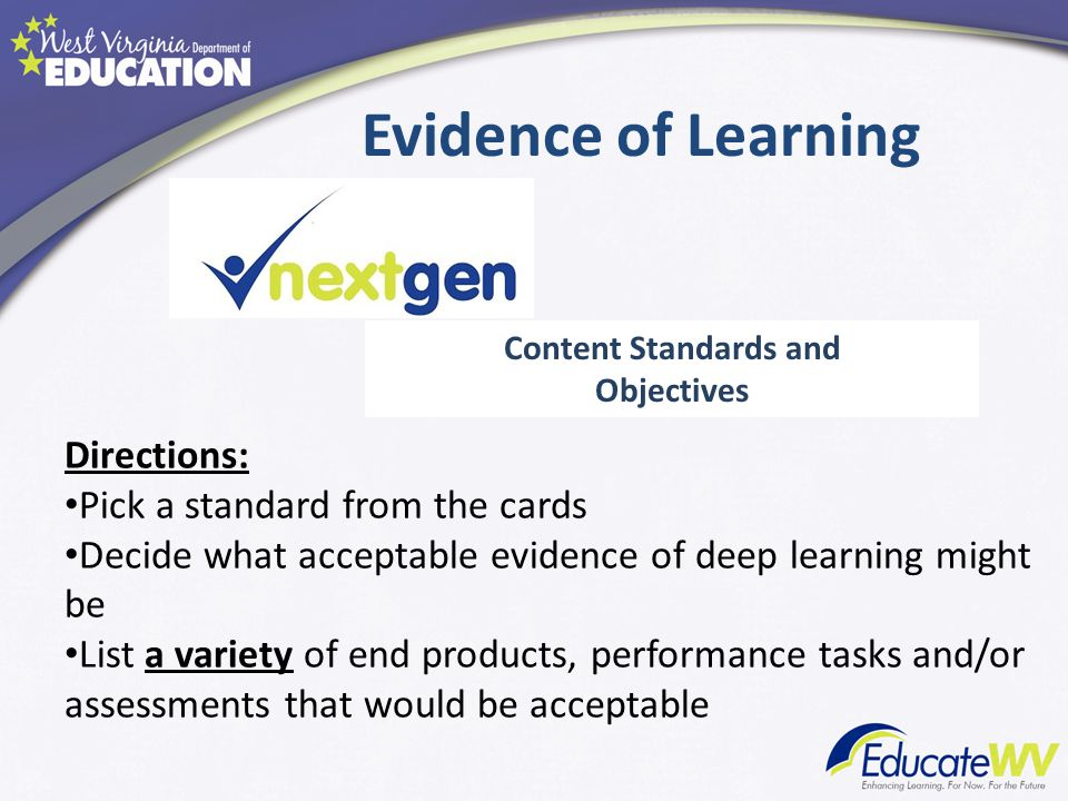 Evidence of Learning Directions: Pick a standard from the cards