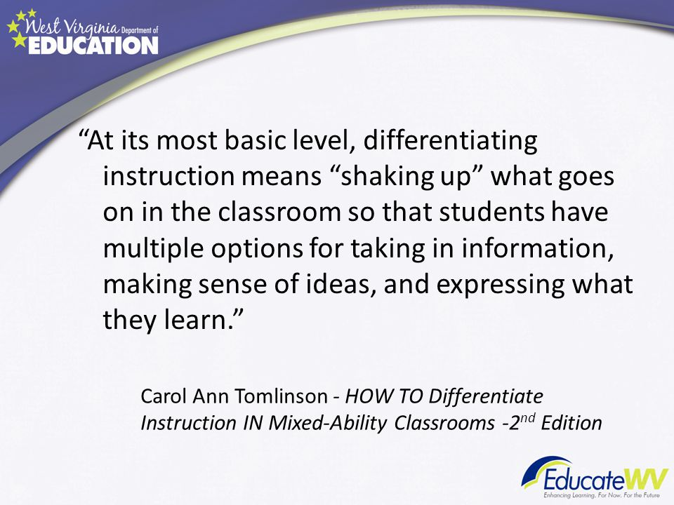 At its most basic level, differentiating instruction means shaking up what goes on in the classroom so that students have multiple options for taking in information, making sense of ideas, and expressing what they learn.
