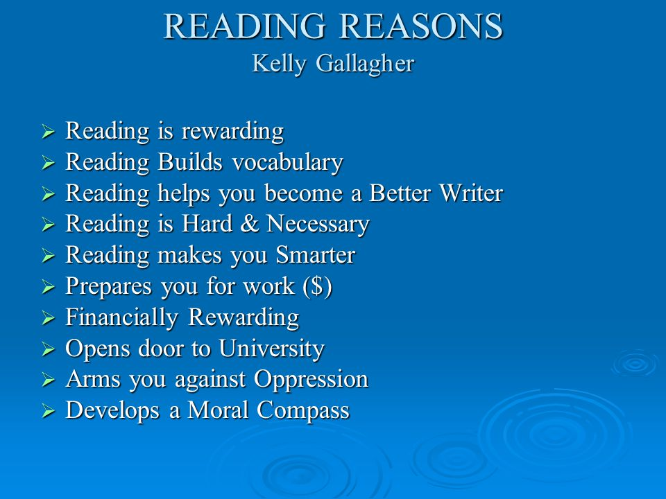 READING REASONS Kelly Gallagher