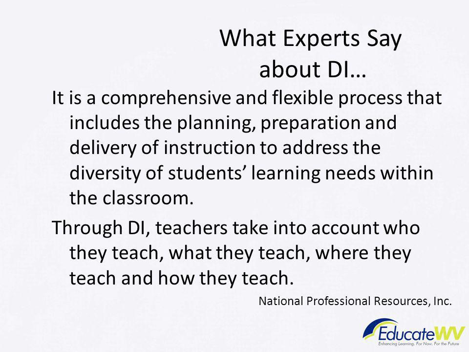 What Experts Say about DI…