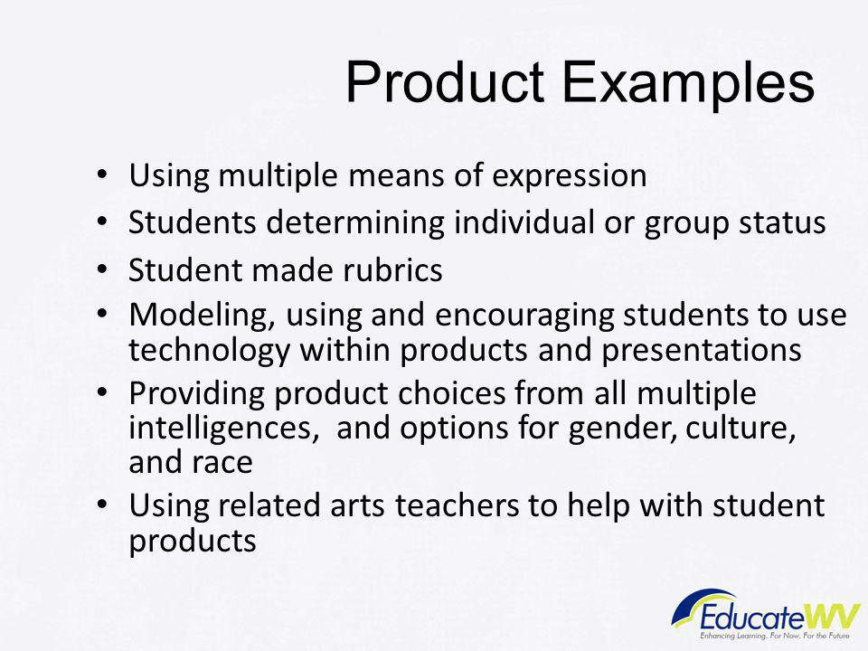 Product Examples Using multiple means of expression