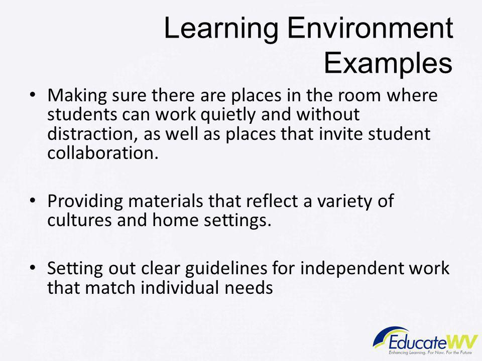 Learning Environment Examples
