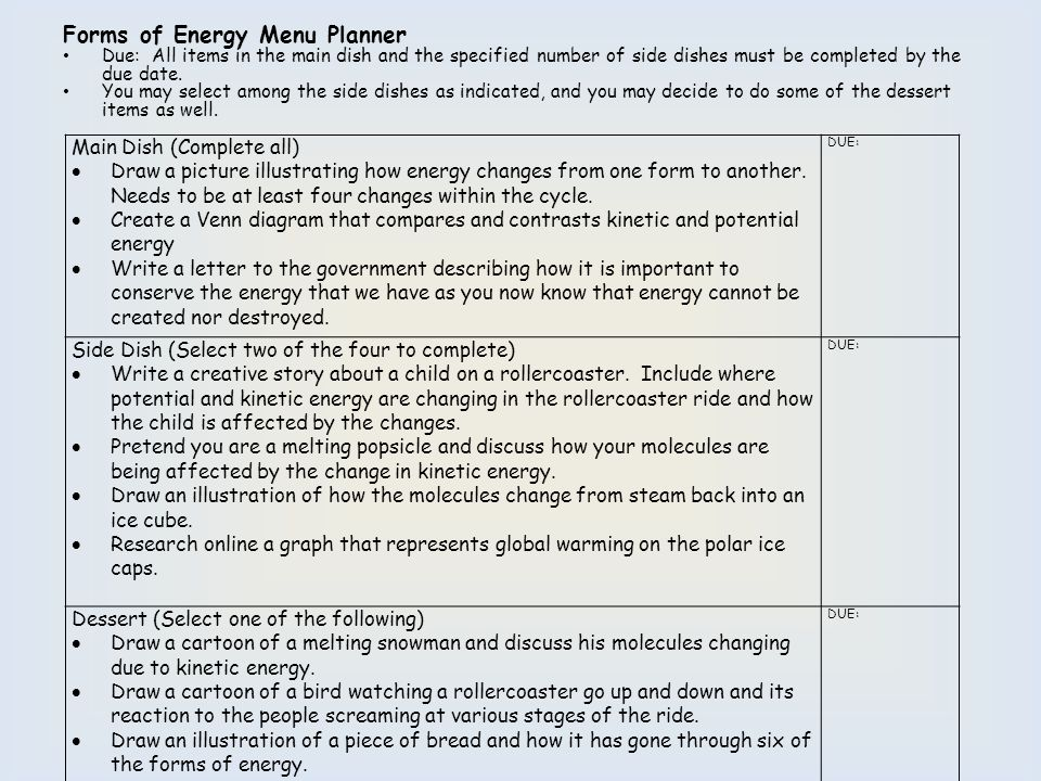 Forms of Energy Menu Planner
