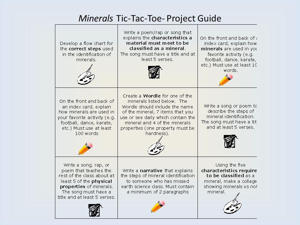 Minerals Tic-Tac-Toe- Project Guide