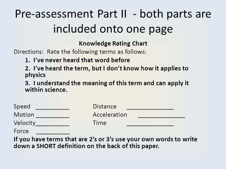 Pre-assessment Part II - both parts are included onto one page