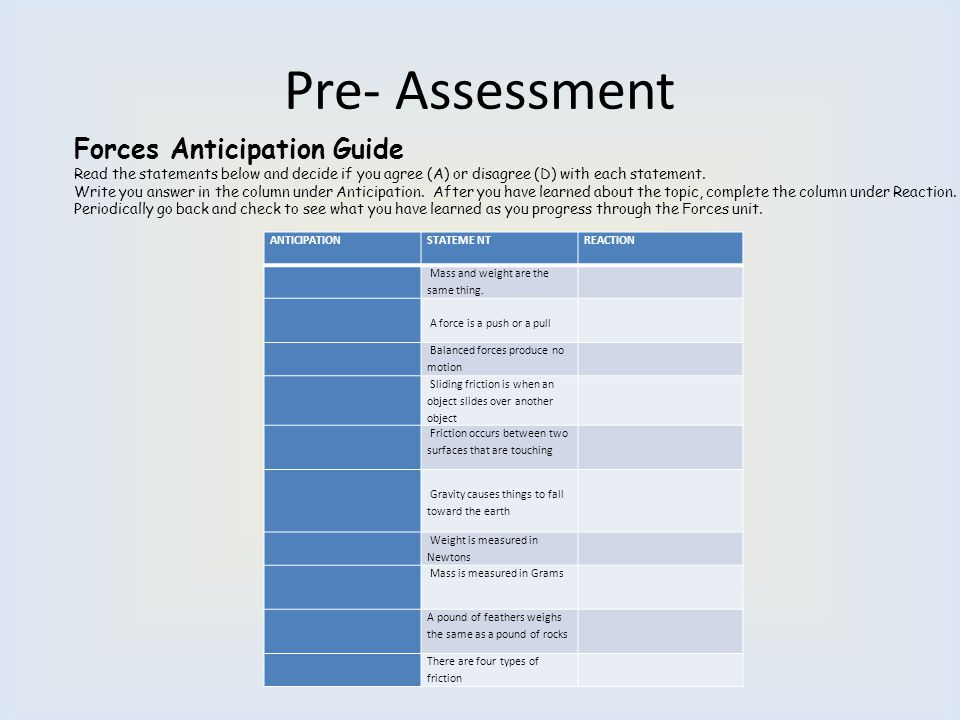 Pre- Assessment Forces Anticipation Guide