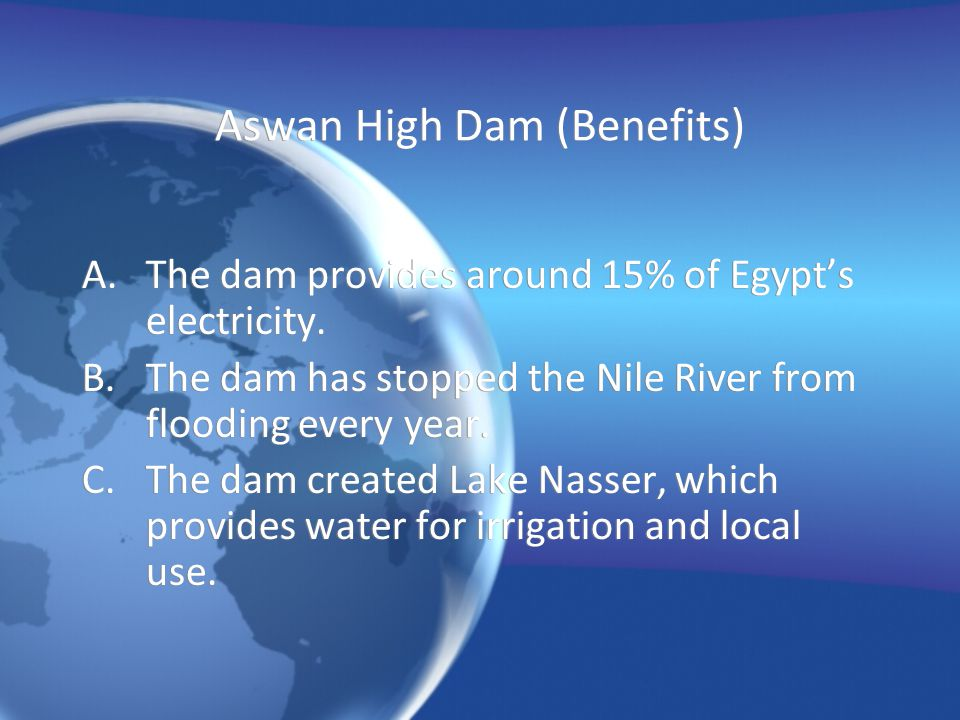 Aswan High Dam (Benefits)