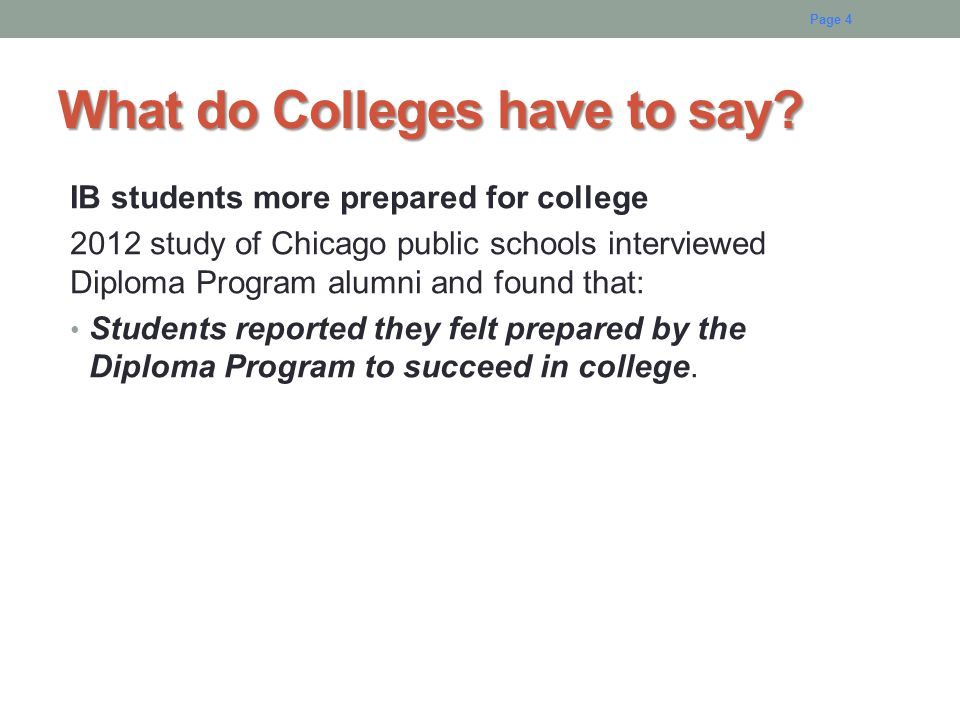 What do Colleges have to say